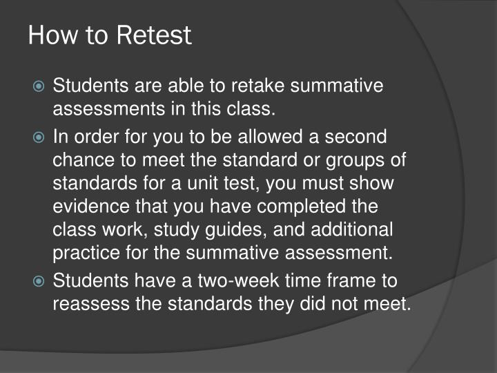 How to Retest