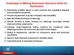challenges in making aluminium extrusion parts for automotive
