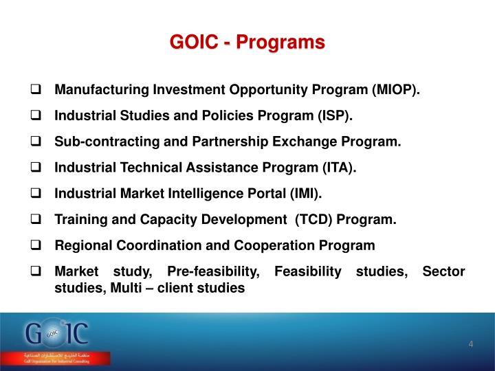 GOIC - Programs