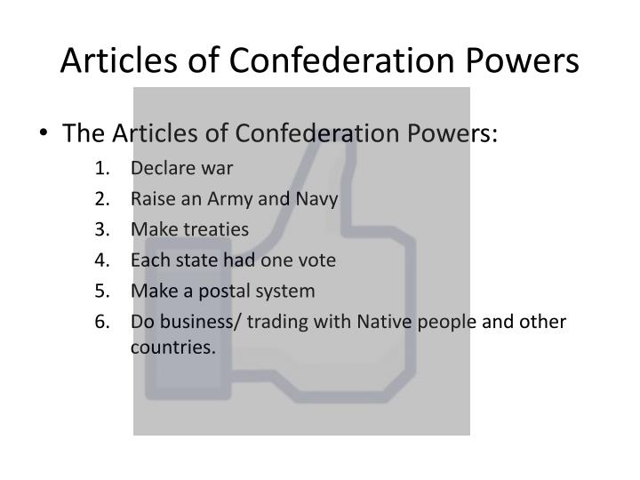 Articles of confederation powers