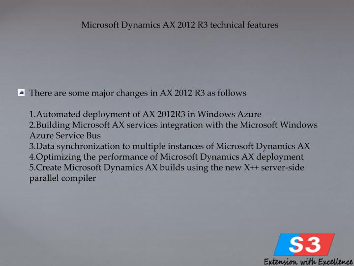 Microsoft Dynamics AX 2012 R3 technical features