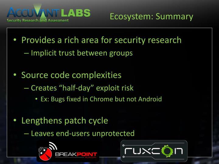 Ecosystem: Summary