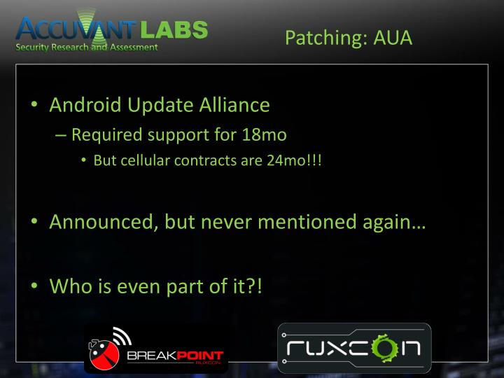 Patching: AUA