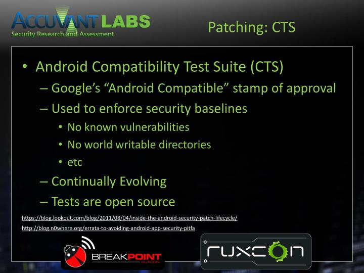 Patching: CTS