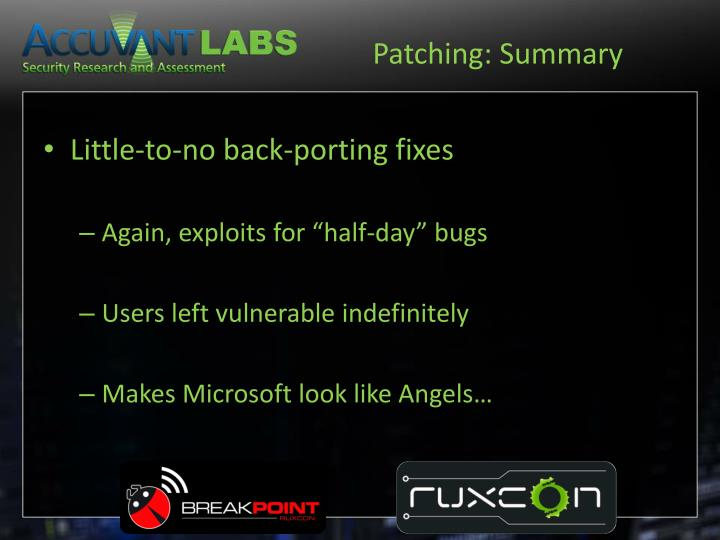 Patching: Summary