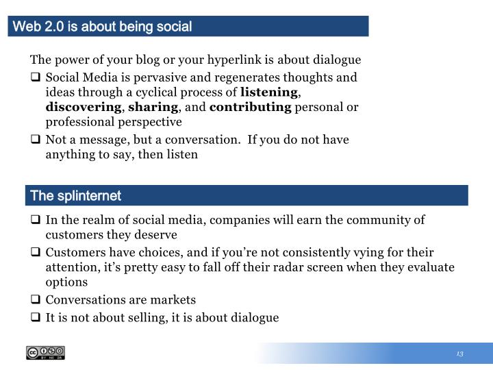 Web 2.0 is about being social