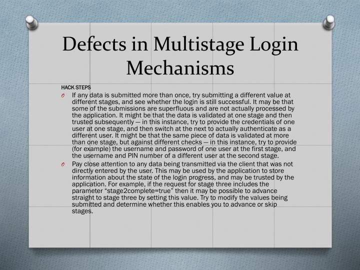 Defects in Multistage Login Mechanisms