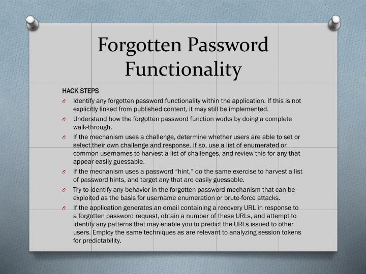 Forgotten Password Functionality