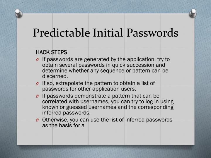 Predictable Initial Passwords