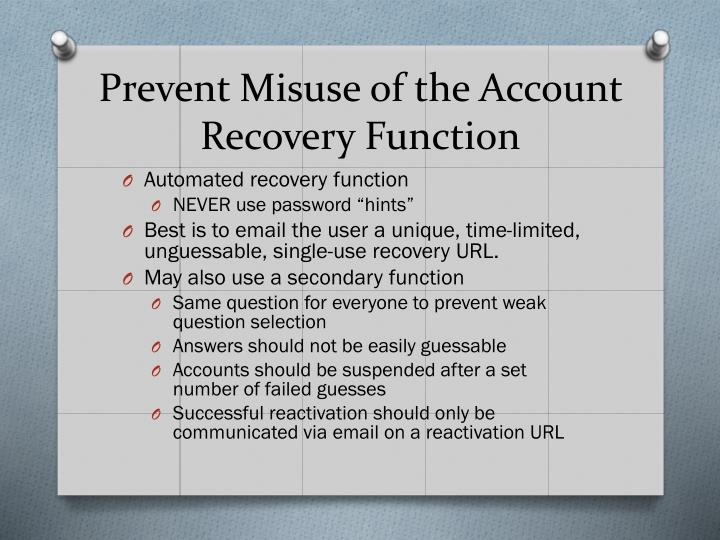 Prevent Misuse of the Account Recovery Function