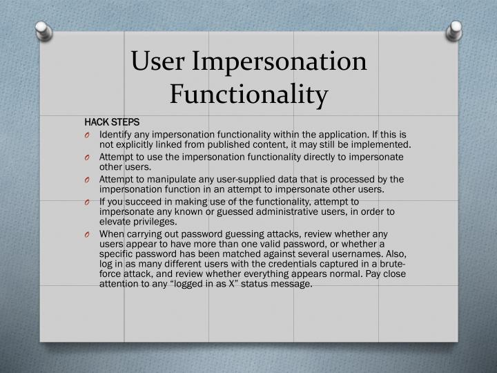 User Impersonation Functionality