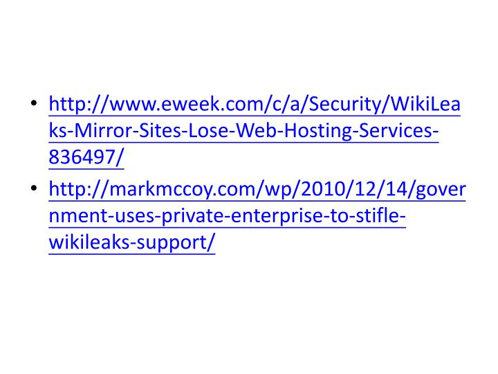 http://www.eweek.com/c/a/Security/WikiLeaks-Mirror-Sites-Lose-Web-Hosting-Services-836497