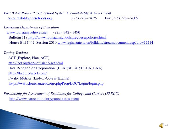 East Baton Rouge Parish School System Accountability