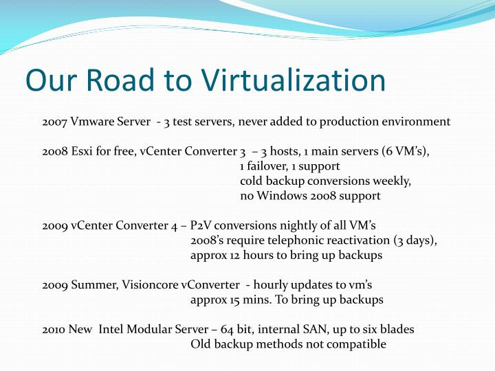 Our Road to Virtualization