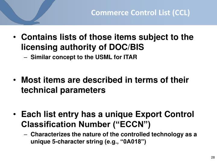 Commerce Control List (CCL)