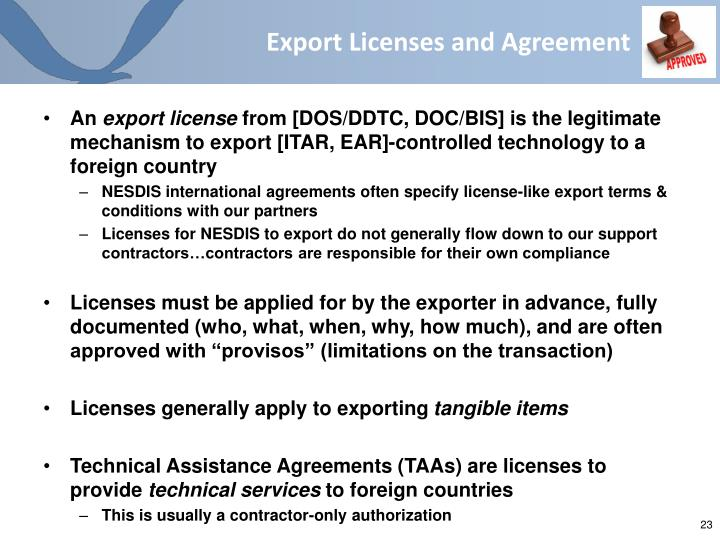 Export Licenses and Agreement