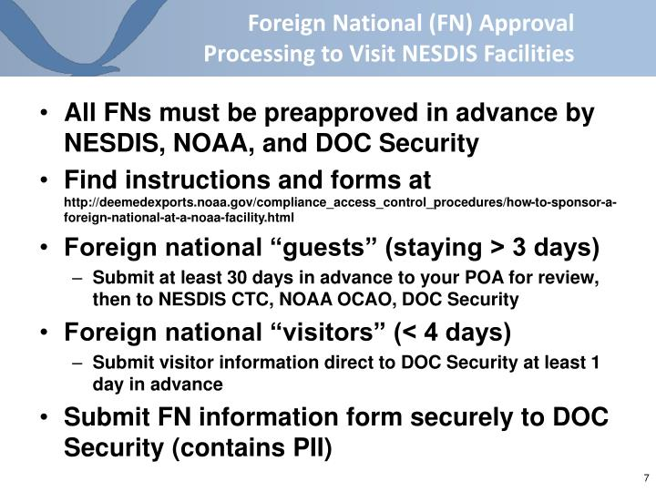 Foreign National (FN) Approval Processing to Visit NESDIS Facilities