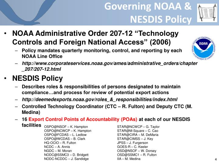 Governing NOAA &      NESDIS Policy