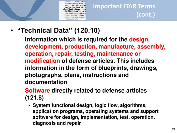 Important ITAR Terms       (cont.)