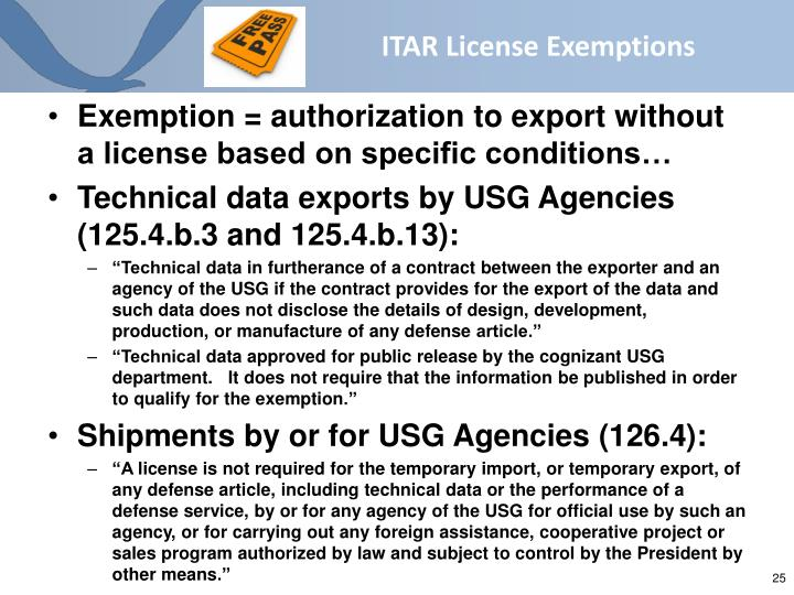 ITAR License Exemptions