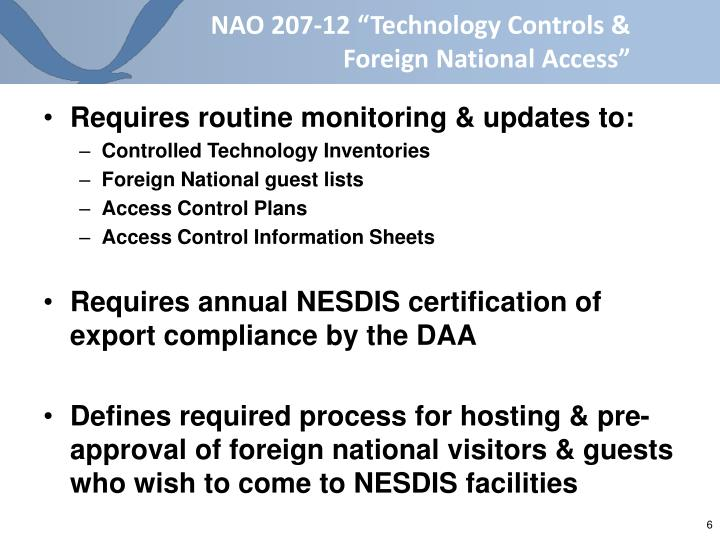"""NAO 207-12 """"Technology Controls & Foreign National Access"""""""