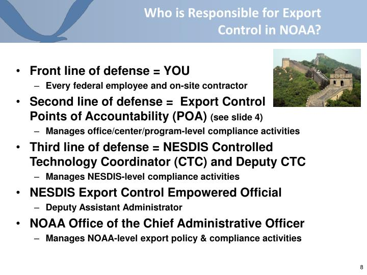 Who is Responsible for Export Control in NOAA?