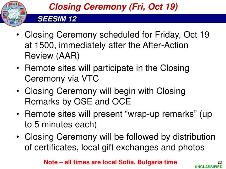 Closing Ceremony (Fri, Oct 19)