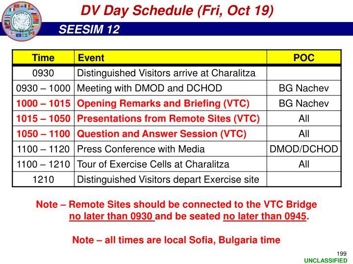 DV Day Schedule (Fri, Oct 19)