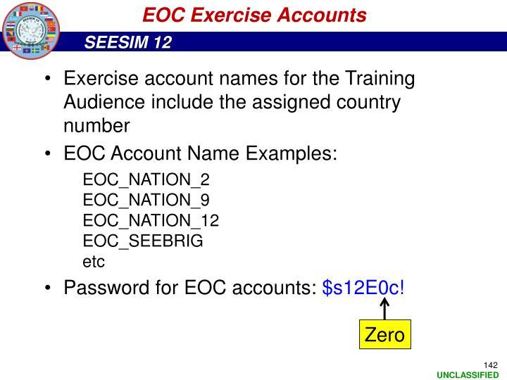 EOC Exercise Accounts