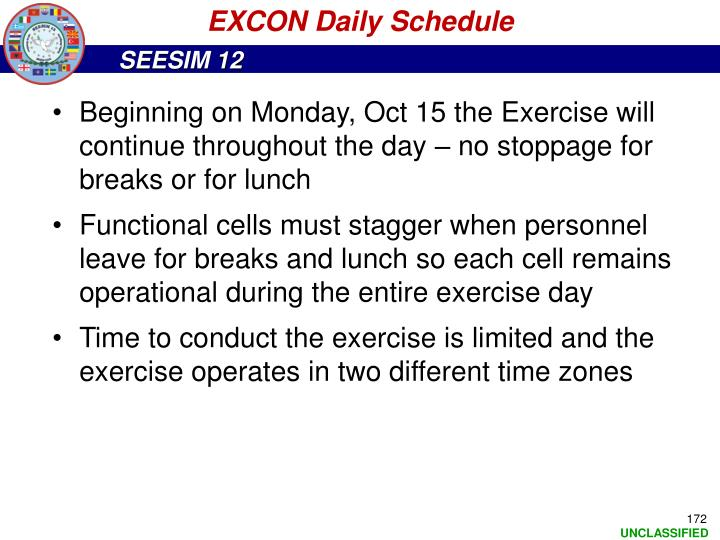 EXCON Daily Schedule
