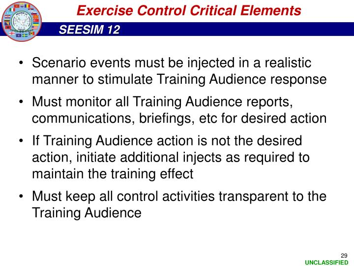 Exercise Control Critical Elements