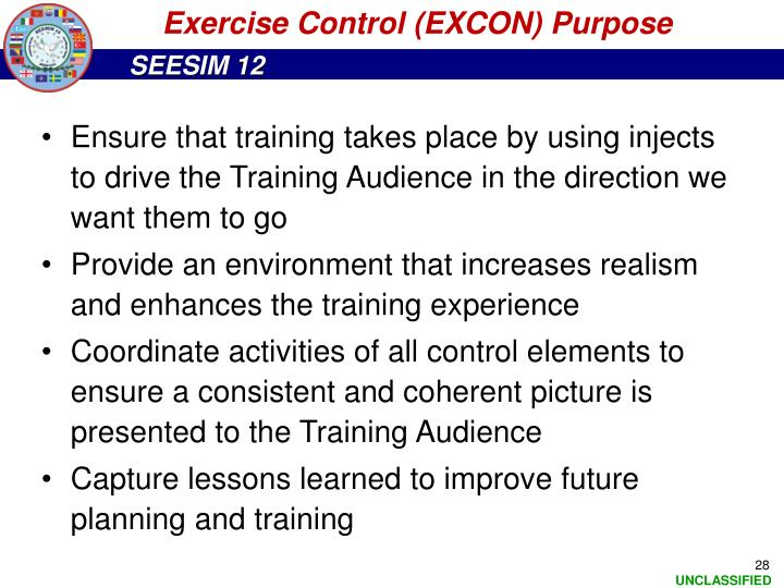 Exercise Control (EXCON) Purpose