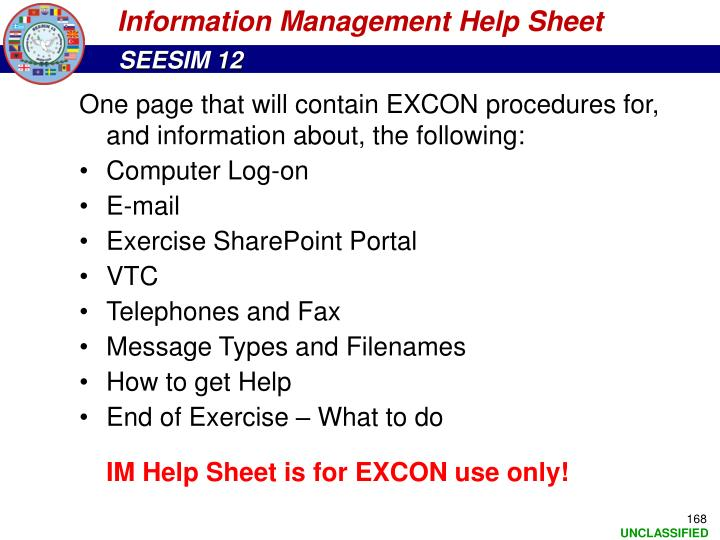 Information Management Help Sheet