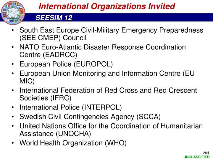 International Organizations Invited