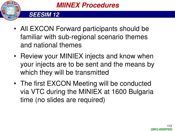 MIINEX Procedures