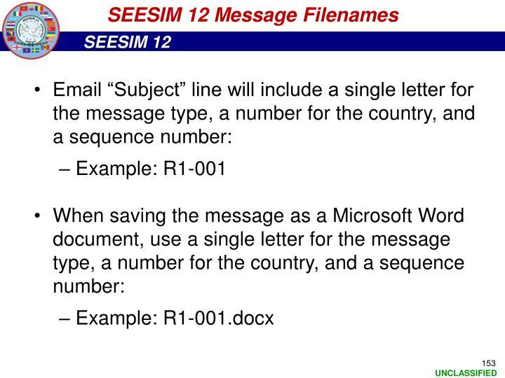 SEESIM 12 Message Filenames