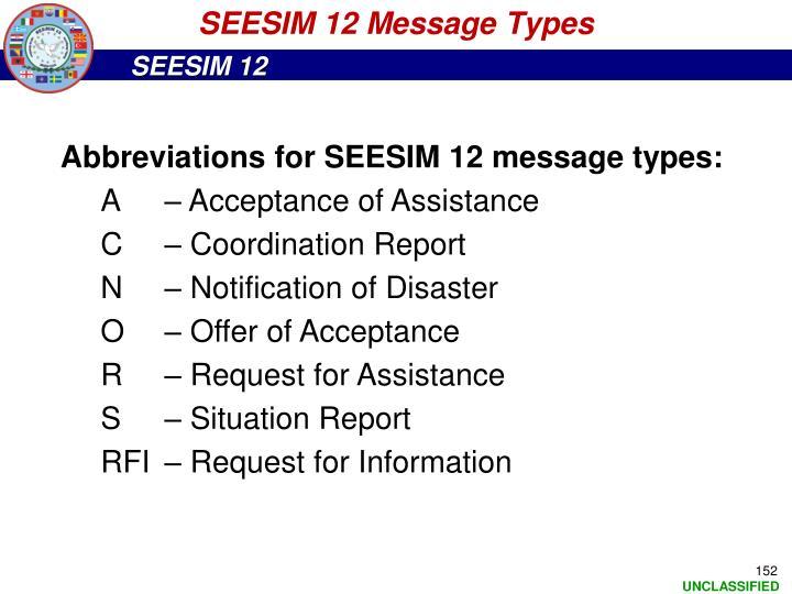SEESIM 12 Message Types