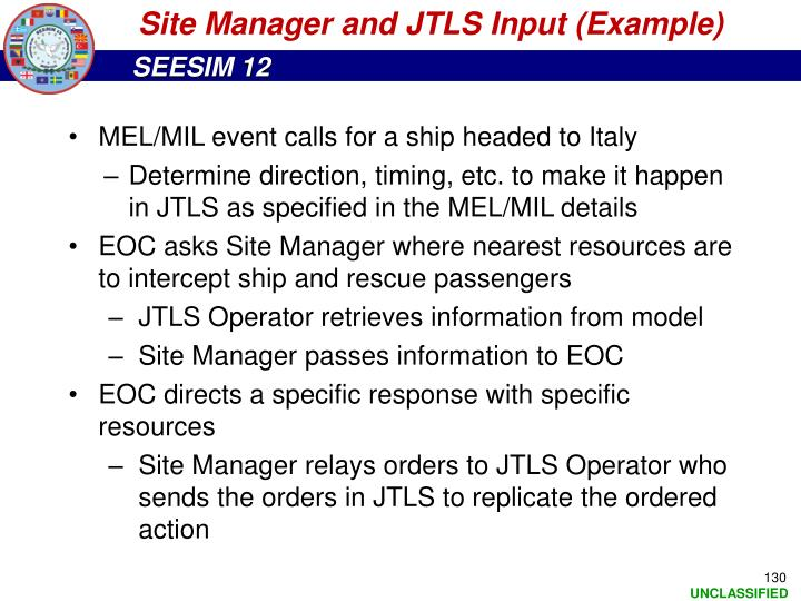 Site Manager and JTLS Input (Example)