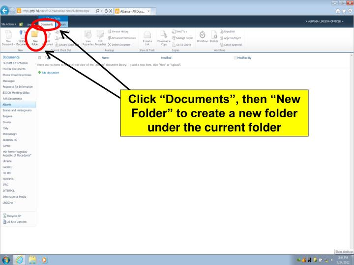 "Click ""Documents"", then ""New"