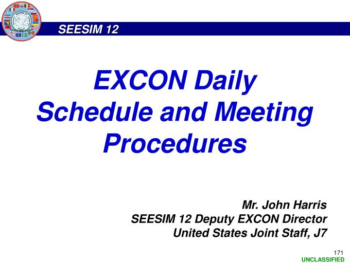 EXCON Daily Schedule and