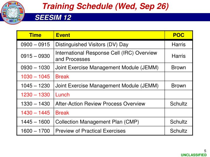 Training Schedule (Wed, Sep 26)
