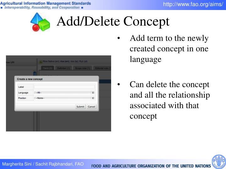 Add/Delete Concept
