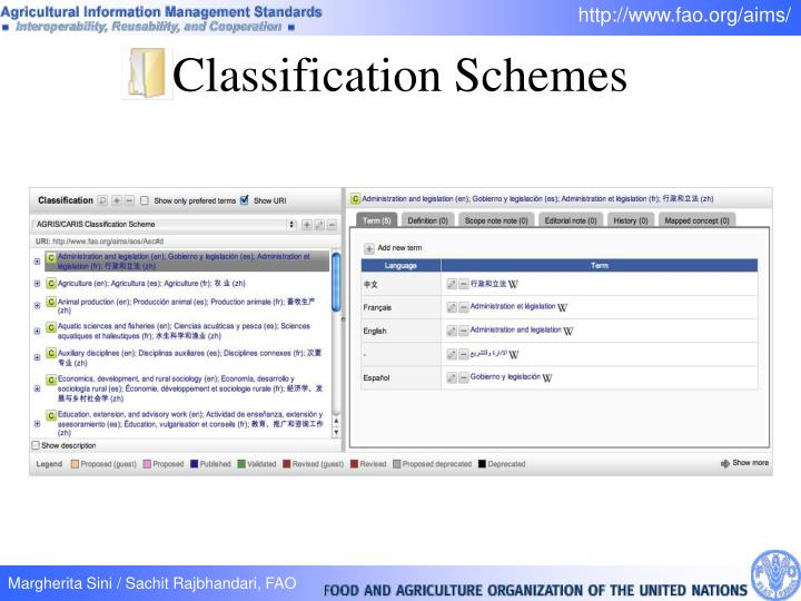 Classification Schemes