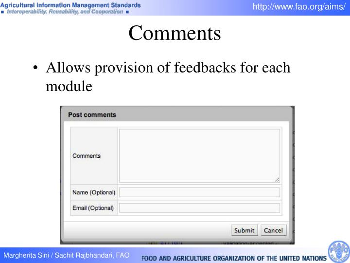 Allows provision of feedbacks for each module