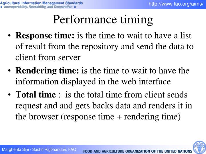 Performance timing