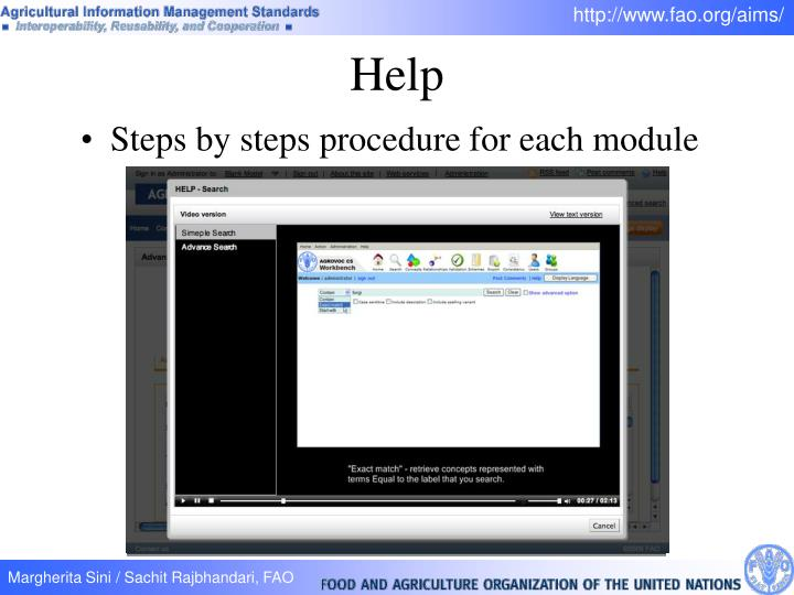 Steps by steps procedure for each module