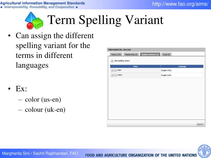 Term Spelling Variant