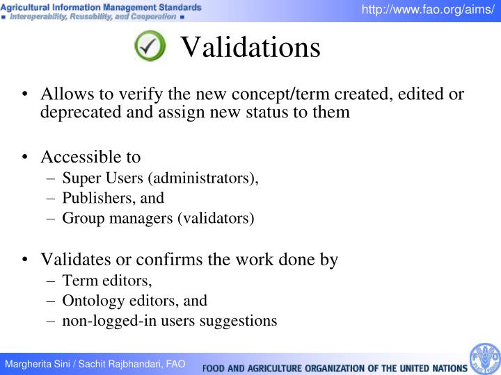 Allows to verify the new concept/term created, edited or deprecated and assign new status to them
