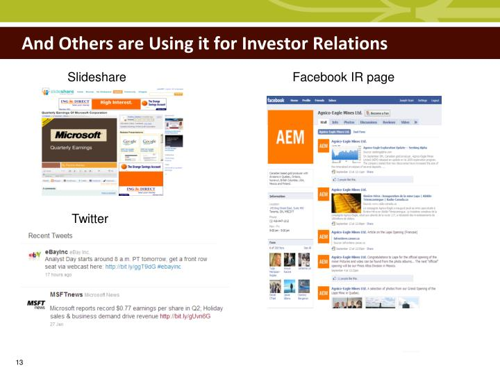 And Others are Using it for Investor Relations