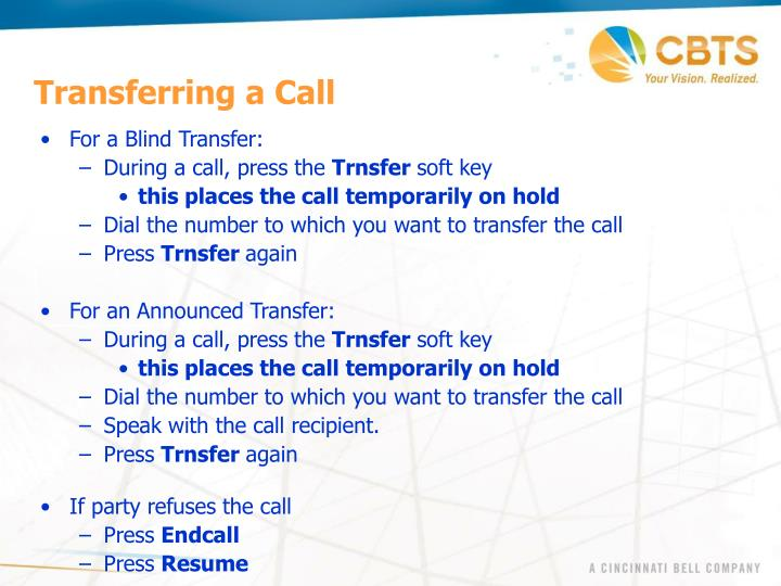 Transferring a Call
